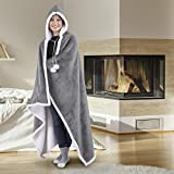 Safdie & Co. 65914.ECZ.74 Premium Wearable Hooded Adult Women and Men 71'x51'-Super Soft, Lightweight, Microplush, Cozy and Functional Throw Blanket (Silver), 52 in x 72