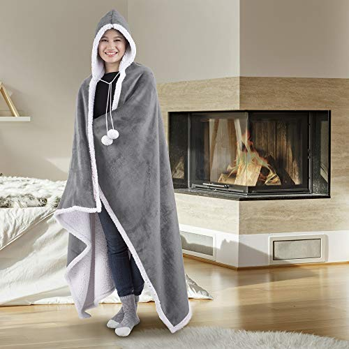 Hooded Blanket Throw Wearable Cuddle 100% Polyester Silver