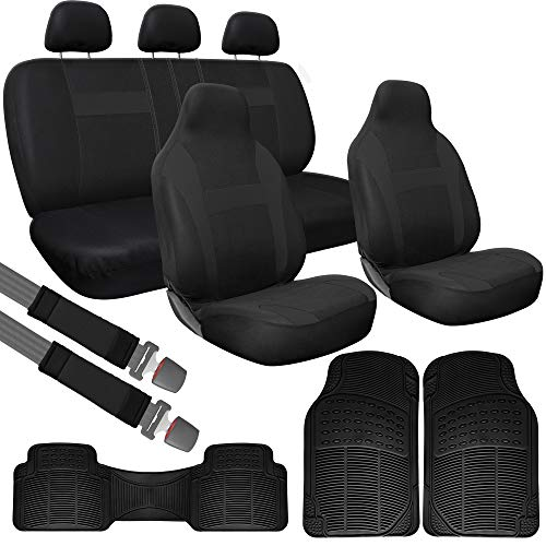 OxGord Car Seat Cover & Rubber Floor Mat Set - Poly Cloth Solid Black with Front Low Bucket and Bench Covers with Driver, Passenger & Rear Runner Mats - Universal Fit for Cars, Truck, SUV, Van