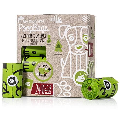 My AlphaPet Compostable Dog Poop Bags  Cornstarch Earth Friendly  Highest ASTM D6400 Rated  240 Count 16 Unscented Refill Rolls  Large Size 9 x 13 Inches  Leak Proof Doggie Waste Bags