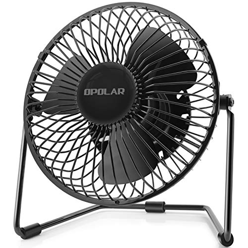 OPOLAR 5-Inch USB Desk Fan, Portable Mini Personal Fan with Two Speed-Settings, Super Quiet, Metal Design, 360° Up and Down, Perfect for Home, Office