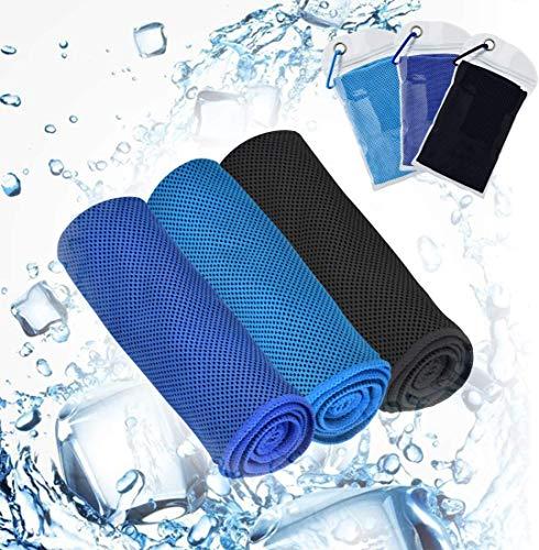 Toalla de refrigeración refrescante, efecto (100 x 30 cm) Deportes Cool Toalla de microfibra de hielo, suave y transpirable para yoga, gimnasio, camping, fitness, fútbol, 3 unidades
