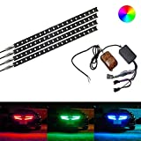 iJDMTOY 4-piece 12 inches Multi-Color RGB LED Knight Rider Scanner Lighting Bar Compatible With Car Interior or Exterior Decoration