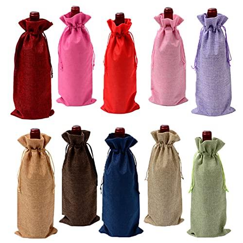 CGBH 10pc 15 *35 cm Bolsas de vino de la arpillera del yute rústico con cordón de la botella de vino cubiertas de botella reutilizable envoltura de regalo paquete de bolsas de vino ( Color : 3 )