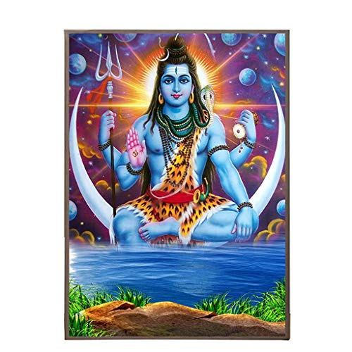 WGD Bihua Shiva Parvati Indian Art, Hindu Gott Figur Leinwand Malerei Religiöses Poster Und Druck, Wandbild Für Wohnzimmer Dekor (Size : 30x40cm)