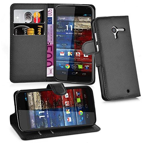 Cadorabo Hülle für Motorola Moto X in Phantom SCHWARZ - Handyhülle mit Magnetverschluss, Standfunktion & Kartenfach - Hülle Cover Schutzhülle Etui Tasche Book Klapp Style