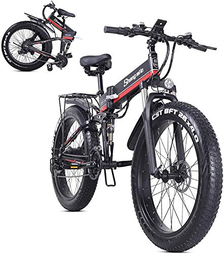 Ebikes, 26InCH4.0 Bicicleta eléctrica plegable de llenura de grasa, batería de litio extraíble de 48V 12.8Ah, motor de 1000W y engranajes de 21 velocidades en marcha de la playa, suspensión completa e