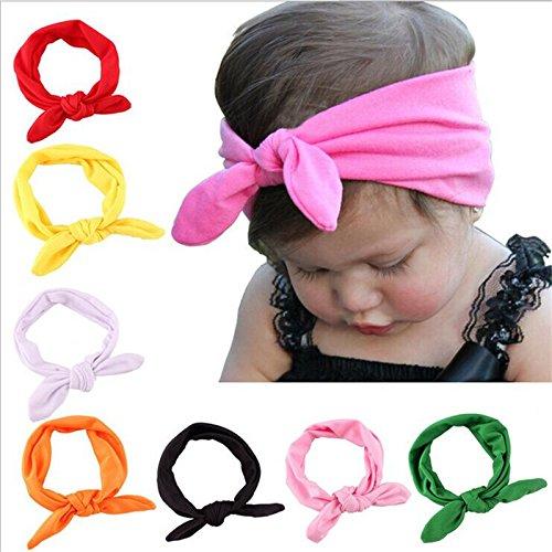 Ndier 8 unitades Cinta para recién nacido bebé niña cabeza nette cabeza wrap con lazo Color aleatorio