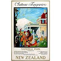 zkpzk ニュージーランドNz1920年代シャトートンガリロ旅行クラシック壁アートワークキャンバス絵画ヴィンテージポスターホームバー装飾ギフト-50X70Cmx1フレームなし