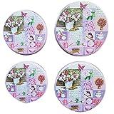 Trendstern Lot de 4 cache-plaques de cuisson Motif fleurs et oiseaux Style rétro Rose