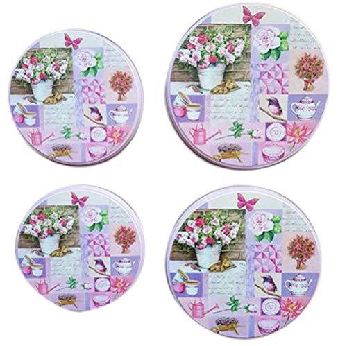 Trendstern Herdabdeckplatten 4'er Set Küchen Herd Abdeckplatten Blumen Vögel Nostalgie (Rosa)