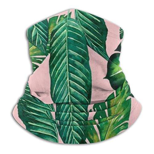 Máscara elástica para la cabeza con diseño de hojas de selva banamonstera, color rosa, multifuncional, antiviento, a prueba de polvo