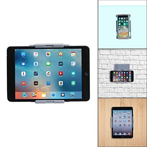 TFY Tablet-Wandhalterung, für die Küche, für Tablets und Smartphones, geeignet für Küche, Bad, Schlafzimmer, Leseraum und mehr, Grau