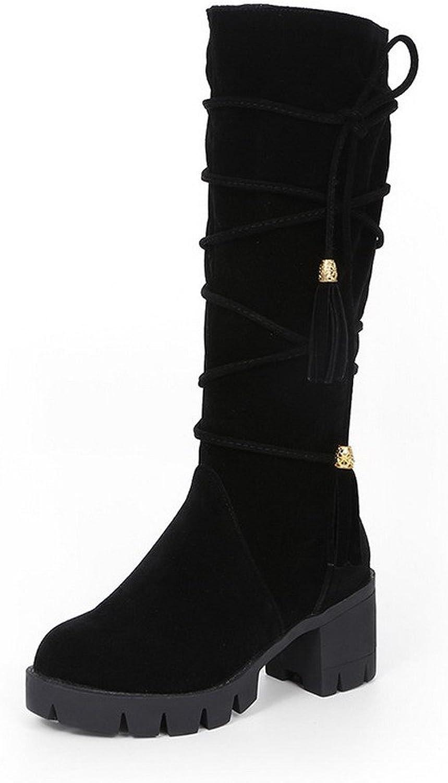 WeenFashion Women's Solid Imitated Suede Kitten-Heels Zipper Round Closed Toe Boots