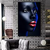 Chica Negra Maquillaje Labios Rojos Lienzo para Pinturas en la Pared de la Sala de Estar Carteles e Impresiones Art déco Africano Art