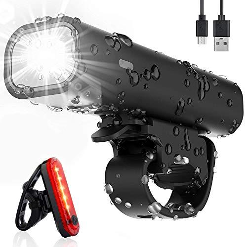 Pezimu Fahrradlicht LED Set - Wasserdicht Frontlicht und Rücklicht Fahrradbeleuchtung - USB Wiederaufladbare Fahrradlampe StVZO Zugelassen Fahrradlichter