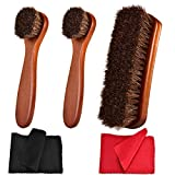 Polish Shoe Brush Kit Natural Horsehair Bristles Polishing Shine Applicators Clean Daubers Shoe Care Set for Leather Cleaning Shoes Boot and More