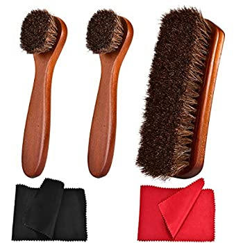 TOBION Polish Shoe Brush Kit Natural Horsehair Bristles Polishing Shine Applicators Clean Daubers Shoe Care Set for Leather Cleaning Shoes Boot and More