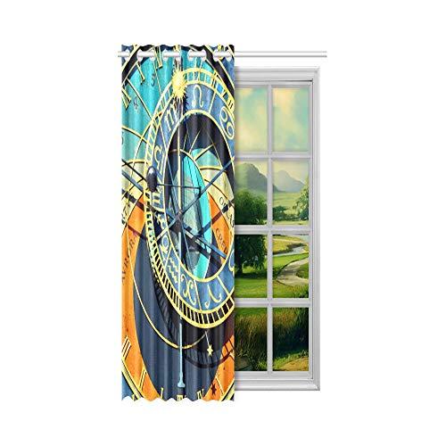 Generies Vorhänge Wohnzimmer Old Retro Wecker Badezimmer Vorhänge Fenster 52x63 Zoll (132x160cm) 1 Panel Blackout Tülle Vorhang für Schlafzimmer Wohnzimmer