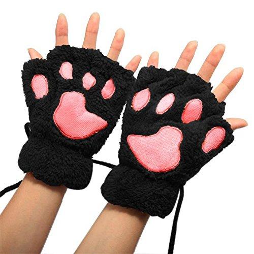Fablcrew 1 Paar Katzenpfoten-Handschuhe mit Bärenpfoten, magnetisch, Halb-Halb-Handschuhe für Damen, warm, aus Plüsch, dick, für Damen und Mädchen (schwarz)