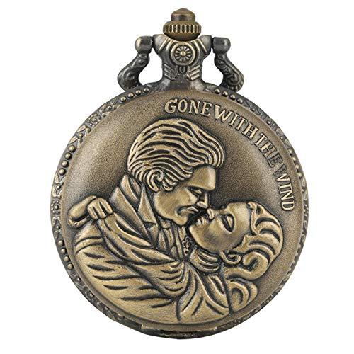 Amantes Beso Diseño Bronce Cuarzo Reloj de Bolsillo Exquisito Colgante Joyería Reloj Regalos para Hombres Mujeres Encantador Collar romántico 80cmchain