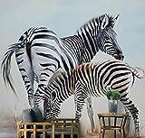 Fotomural Madre e hijo cebra Vinilo 3D Papel pintado tejido no tejido Decoración de Pared decorativos Murales moderna para la decoración de comedores, Salones Arte Diseño Elegante 250(W) x175(H) cm