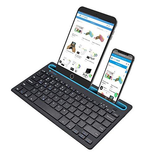 Silvergear Kabellose Tastatur, Tablet Tastatur, Bluetooth Tastatur, deutsches QWERTZ Layout, integrierte Halterung, Computer, Tablet und Smartphone - Schwarz