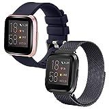 SINPY Cinturini per Fitbit Versa,2-Pack Acciaio/Sportivo Cinturino Compatibile con Fitbit Versa Lite/Fitbit Versa 2 Smartwatch Accessori Bracciale di Ricambio,Metallo Nero/Silicone Blu Navy