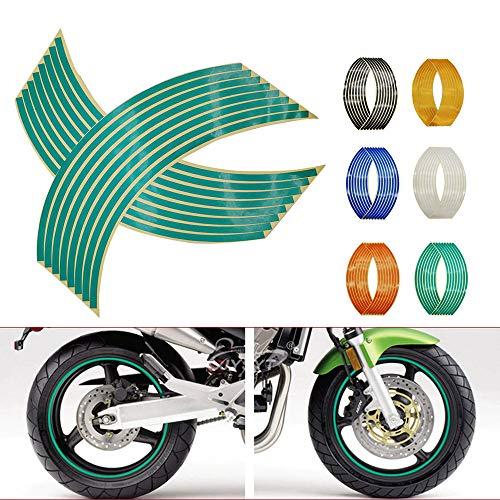 N&G 4PCS Calcomanía Reflectante para Llantas de Ruedas de de 14, 17 o 18 Pulgadas para Ruedas de Motocicleta Coche Bicicleta Bicicleta Noche Reflectante decoración de Seguridad Raya Universal (Verde)