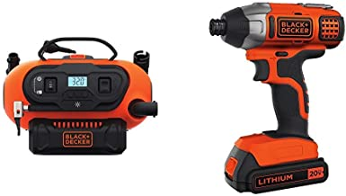 BLACK+DECKER BDINF20C 20V Lithium Cordless Multi-Purpose Inflator (Tool Only) with BLACK+DECKER BDCI20C 20V MAX Lithium Impact Driver