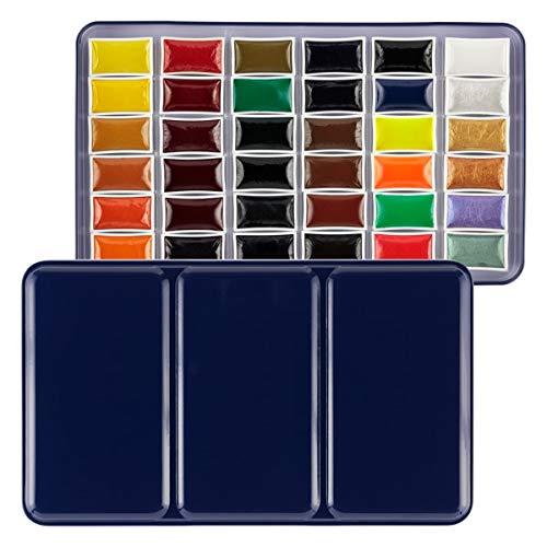 SoHo Urban Artist Large Watercolor Palette Set of 36 Assorted Paint Colors, Whole Pans