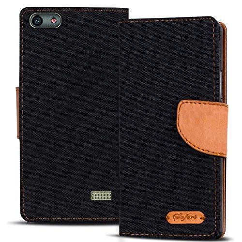 Conie TW7667 Textil Wallet Kompatibel mit Huawei G Play Mini, Textil Hülle Klapptasche mit Kartenfächer Etui Slim Cover für G Play Mini Handyhülle Jeans Schwarz