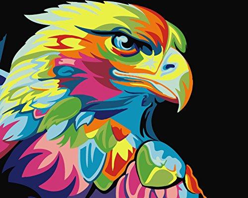 YEESAM ART Neuerscheinungen Malen nach Zahlen für Erwachsene Kinder - Colorful Farbenreich Adler Eule 16 * 20 Zoll Leinen Segeltuch