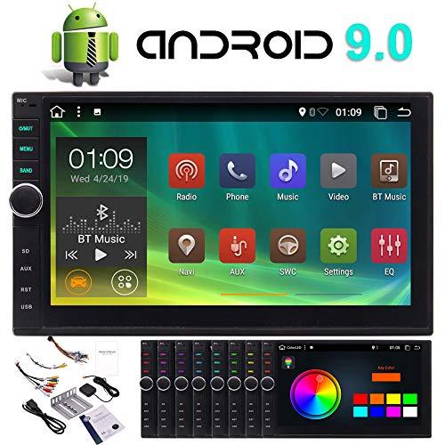 Android 9.0 Car Bluetooth Radio Stereo 7 Inch Touch Screen 2Din Car GPS Radio GPS Navigation in-Dash Car Head Unit with Video Player Autoradio WiFi USB SD Port OBD2 (2G RAM+32G ROM)