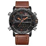 Naviforce sport orologi per gli uomini, fashion vintage design analogico digitale orologio da polso al quarzo con doppio fuso orario calendario in vera pelle Band (arancione)