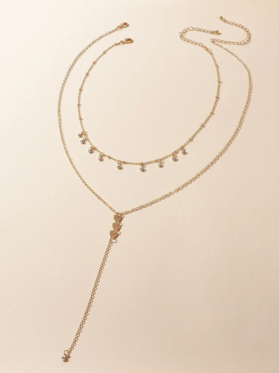 LND Gifts Necklace Pendant 2pcs Rhinestone Decor Y Lariat Necklace (Color : Gold)