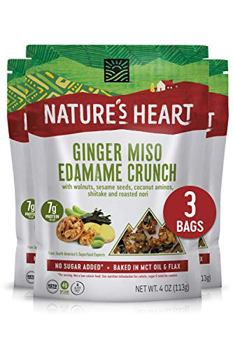 Nature's Heart   Healthy Mixed Nuts Snack   Keto, Gluten Free, Vegan, Low Carb, Paleo   Ethically Sourced   Ginger Miso Edamame Crunch (Pack of 3)…