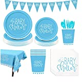 Amycute 126-teiliges Baby Shower Partygeschirr Set, Baby Shower Party Deko,Babydusche Dekorations - Banner,Teller Becher ,Servietten, Geschirr Kit für eine Junge Babyparty.