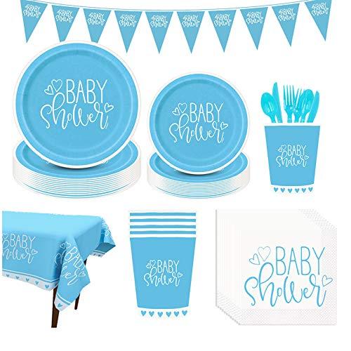 Amycute 126-teiliges Baby Shower Partygeschirr Set, Baby Shower Party Deko,Babydusche Dekorations - Banner,Teller Becher ,Servietten, Geschirr Kit für eine Junge Babyparty.