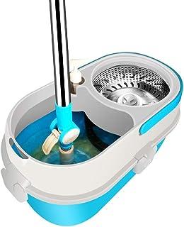 モップヘッドロータリーモップバケットフリーハンドウォッシュ自動乾式脱水ダブルドライブモップステンレス鋼ロッド* 1モップディスク* 1モップヘッド* 2(色:青)