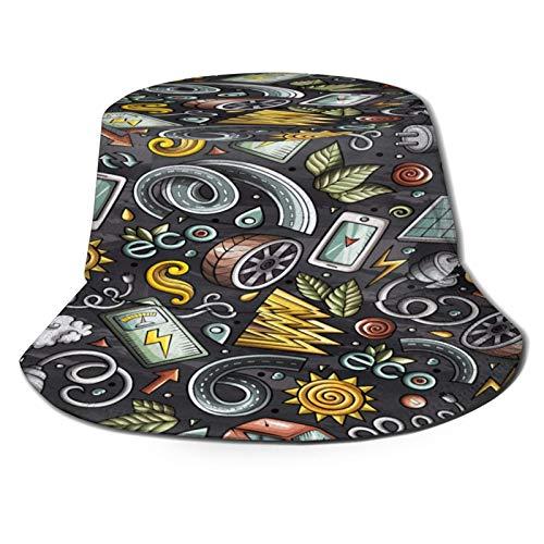 PUIO Sombrero de Pesca,Dibujos Animados Lindos Coches eléctricos Dibujados a Mano,Senderismo para Hombres y Mujeres al Aire Libre Sombrero de Cubo Sombrero para el Sol