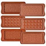 Fimary 6 Pack Silicone Break Apart Chocolate Molds Chocolate Bar Molds Homemade Food Grade Protein and Energy Bar Molds