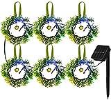 Luces Solares De Guirnalda De 6 Piezas, Panel Solar Monocristalino Luces De Guirnalda Solares Led Inteligente, Guirnaldas De Vegetación Artificial Para Decoración De Jardín De Boda Interior Al Aire Li