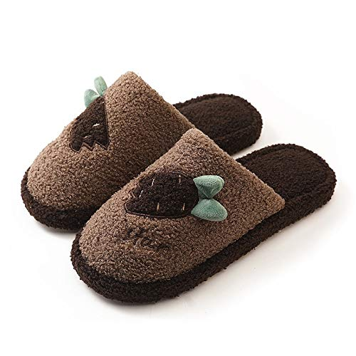 U/A Zapatillas de algodón Zapatillas de rábano Bordadas de Invierno Zapatillas de Piso de Suela Suave de Felpa