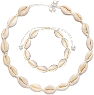 HSWE Shell Choker Necklace for Women Seashell Necklace Statement Adjustable Sea Shell Pendant Cord Bib Collar Necklace Bracelets Set Hawaiian Jewelry