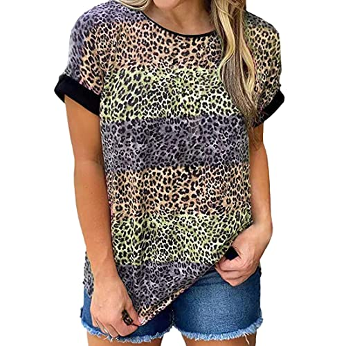 Camiseta Holgada de Manga Corta con Cuello Redondo para Mujer Tops de Verano Camisetas con Estampado de Leopardo Camisa Informal básica Camisa a Rayas con Cuello Redondo Camisetas holgadas Blu