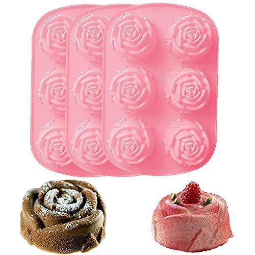 Gurxi 3 Stücke Molds Formen 3D Rose Blume Silikonform mit Großen Rosen Fondant Geschenk Dekorieren Schokolade Cookie Seife Fimo Polymer Clay Harz Backformen DIY Tools 6.46 * 9.68in (Rosa)