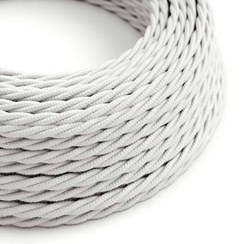Cable Eléctrico Trenzado Recubierto en Algodón Color Sólido, Blanco TC01-10 Metros, 2x0.75