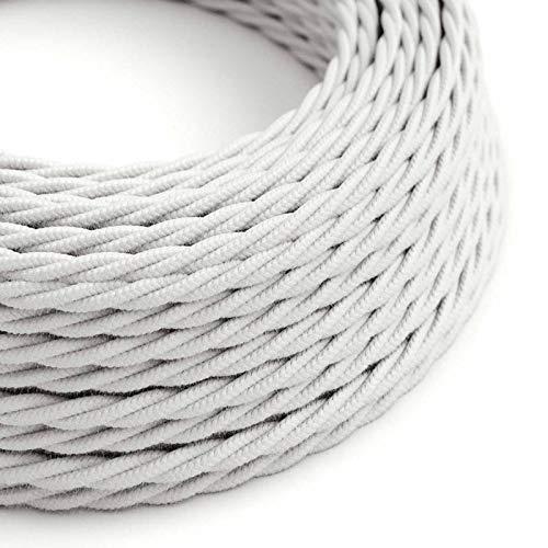 Creative-Cables Cable Eléctrico Trenzado Recubierto en Algodón Color Sólido, Blanco TC01-5 Metros, 3x0.75