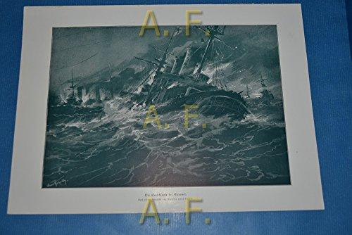 Die Seeschlacht bei Coronel. Nach einem Gemälde von Professor Hans Bohrdt. // Druck aus: Illustrierte Geschichte des Weltkrieges.